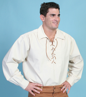 Mens Scully Natural frontier pull over lace up shirt