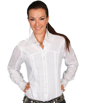 Scully 20 snap White frill ladies western shirt. White western shirt. Ladies white western shirt. Scully western shirt, ladies scully shirt, womens scully shirt