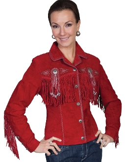 "This ""Fawn"" Red boar suede Womens western jacket by Scully has beads, studs, and conchos, this western jacket has style. Made from boar suede with fringe on the front, back and closes with a 5-button front"