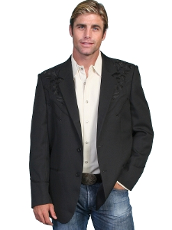 "This ""Black Blazes"" Mens Scully Black Western Blazer is the mens go to cowboy dress coat for that special occasion a throwback to the old west country music days of simple classy looks and style for men."