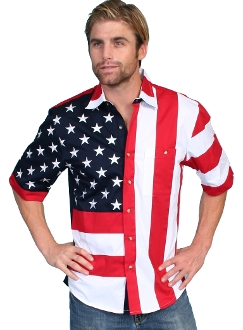 Mens Scully American flag short sleeve western shirt, flag shirts, flag shirts for men, American flag western shirt, flag western shirt