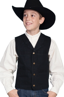 This Scully Kids 1800's black canvas old frontier Lapel vest is made of 100% cotton with notched lapels four pockets and adjustable back strap identical to match the mens western vest for matching western wedding vests.