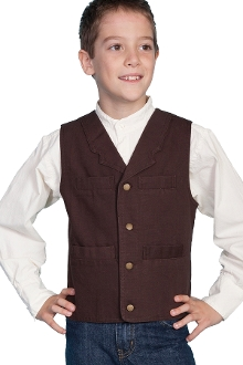 This Scully Kids 1800's Walnut brown canvas old frontier Lapel vest is made of 100% cotton with notched lapels four pockets and adjustable back strap identical to match the mens western vest for matching western wedding vests.