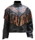 Racer FLAME Orange fringe leather Jacket