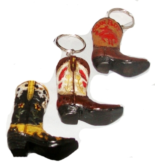 Ceramic Single Cowboy Boot Keychain, Western Keyring