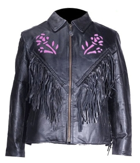 womens western jackets, purple rose jacket, rose fringe jacket, ladies western jacket, fringe leather jacket, black leather fringe jacket