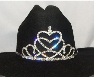 """Queen of Hearts"" Rhinestone Cowboy hat tiara is proudly made in the USA for the queen of the rodeo to be crowned by this cowboy hat tiara is an exciting look an any cowgirl competing to be the horse show winner."