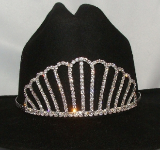 """Classic Queen"" Rhinestone Cowboy hat tiara is proudly made in the USA for the queen of the rodeo to be crowned by this cowboy hat tiara is an exciting look an any cowgirl competing to be the horse show winner."