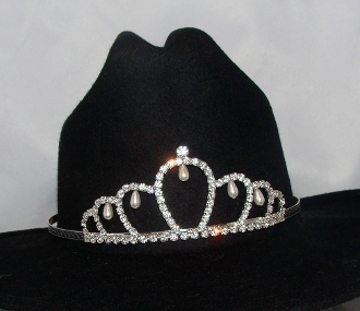 """Jr.Princess of Pearls"" Rhinestone Pearls Cowboy hat tiara is proudly made in the USA for the queen of the rodeo to be crowned by this cowboy hat tiara is an exciting look an any cowgirl competing to be the horse show winner."