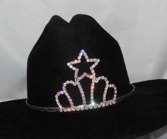 """Princess of Stars"" Rhinestone Cowboy hat tiara is proudly made in the USA for the queen of the rodeo to be crowned by this cowboy hat tiara is an exciting look an any cowgirl competing to be the horse show winner."