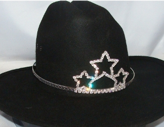 "This ""Triple Star"" Rhinestone Cowboy hat tiara USA made fits all sizes of cowboy hats for your Rodeo Queen cowgirl hat tiara made of rhinestones perfect for the rodeo crown on a cowboy hat princess tiara cowgirl."