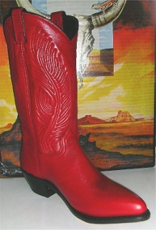 Womens size 7 Red leather western cowgirl boots