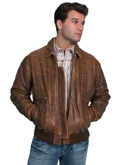 Mens Scully Antique Bomber Brown Lambskin Jacket, Big n Tall