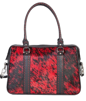 "This Womens Black and Red Hair on Hide Scully Leather Handbag has rich cow hide hair on a soft leather bag with a large purse size of 14.5"" W x 10.5""H x 3.5"" D"