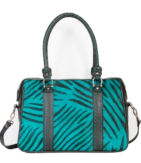 This Womens Scully Turquoise Hair on Hide Black Zebra print Handbag is truly a one of a kind purse with a zebra print on cow hair on hide and calf leather.