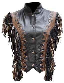 Ladies black leather braided accent western vest