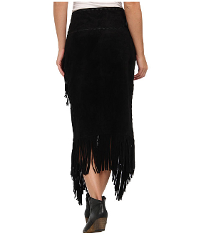 Womens Native Long Suede Black Fringe Wrap Around Skirt