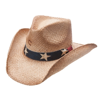 """Stars & Stripes"" Charlie 1 Horse Patriotic Straw Cowboy Hat"