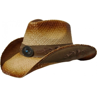 This Adult Raffia Tea Stain Sheridan Embroidered Straw Cowboy Hat has a cool modern cowboy look with embroidered sides and fashionable hat band for any western flair.