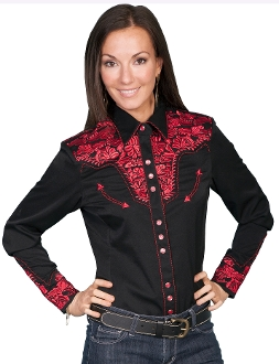 "This ""Lady Crimson Gunfighter"" Red Womens western shirt by Scully with embroidered floral top and back yokes with twisted piping and smiley pockets closed up with matching pearl snaps make a great country western shirt for the ladies."