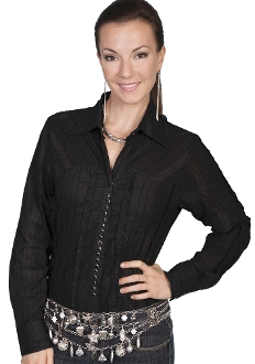 Scully 20 snap ladies black frill western shirt, Scully 20 snap ladies black frill western shirt, scully shirt, womens scully, western shirt, womens western shirt