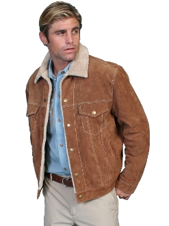 Scully Mens Tan Suede Fur Collar Western Jacket