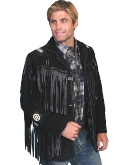 This Scully Mens Black boar suede Native fringe western jacket has hand laced beaded trim. Leather coat with leather fringe trim on front and back yokes, leather fringe trim on shoulders and front pockets.