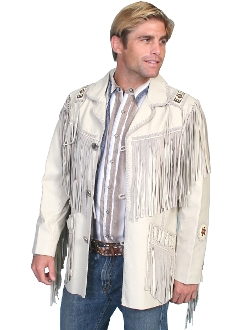 This Scully Mens cream western fringe jacket Native American style has hand laced beaded trim. Leather coat with leather fringe trim on front and back yokes, leather fringe trim on shoulders and front pockets