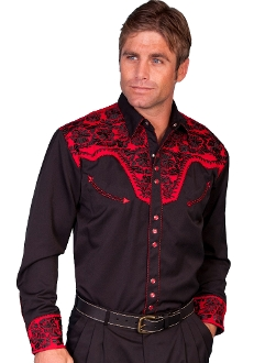 "This ""Gunfighter Tom"" Mens Black western shirt by Scully is a western favorite with the beautiful vintage smiley pockets and retro floral embroidered yoke complete with pearl snaps a great western cowboy shirt for men."