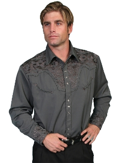 "This ""Charcoal Gunfighter"" Mens Scully Gray Embroidered Western Shirt is a western favorite with the beautiful vintage smiley pockets and retro floral embroidered yoke complete with pearl snaps a great western wedding cowboy shirt for men."