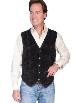 This Mens Scully Black Calf Suede Snap Front Classic Western Vest has 5 western star silver snaps in front with 2 frontal pockets all in a vintage cowboy look with soft touch leather and inner lining.