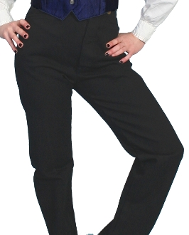 This Scully USA Womens black canvas Saddle seat riding pants are perfect for riding or an authentic 1800's shooting and fits great with your steampunk clothing.