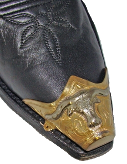 These Silver Steer Head Gold Cowboy Boot Tips have are gold plated full coverage western toe rand with a silver raised steer head design.