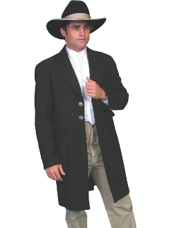 This USA Made 100% Wool Mens Scully Black Authentic Frock Coat features beautiful engraved metal buttons on the back.Two front flap pockets, an inside breast pocket and an outside breast pocket.100% wool.Fully lined.
