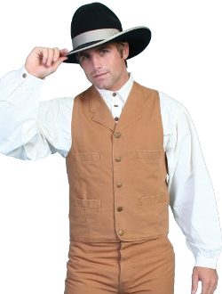 This Scully Mens Cotton Canvas brown mustard old frontier Lapel vest is made of durable 100% cotton with notched lapels four pockets and adjustable back strap fully lined mens western cowboy vest 5XL 6XL .
