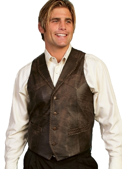 """Brown Buff"" Mens Scully Brown whip stitch leather Lapel vest, collar western vest, collar vest, mens western vest, western vest for men, suede western vest, scully vest, scully mens vest"