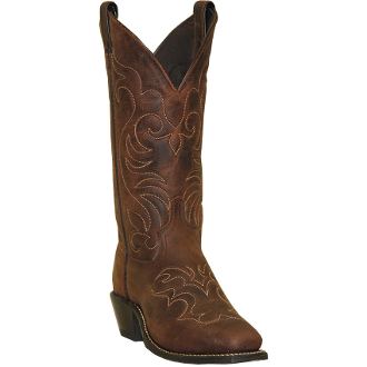 Womens Flame Stitch Brown Leather Cowboy Boots - USA made