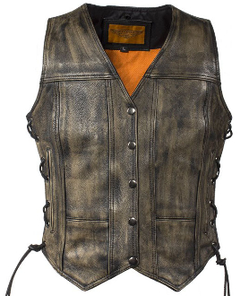 Womens Concealed Carry Black Leather Studded Vest, womens concealed carry vest, concealed carry vest for women, ladies concealed carry vest, western leather womens concealed carry vest, ladies concealed carry vest
