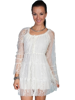 Scully Womens Short Ivory Lace Western Dress