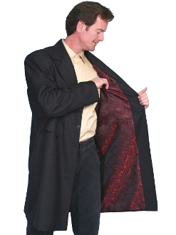 This Mens Scully USA Made 3/4 Black Frock Dragon Lined Coat has black buttons on front, back and cuffs, inside breast pocket and side front flap pockets with Matching pants available. this is a Wool and polyester blend