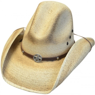 This Kids Sahuayo Straw Gus Crown Western Star Cowboy Hat is a cool old west distressed look. Torched technology applied to genuine sahuayo straw on a gus style crown kids cowboy hat.