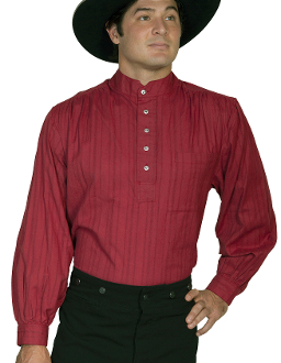 Mens Scully Burgundy Tombstone Pull Over Banded Collar Shirt