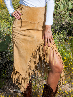 Womens Native Long Suede Old Rust Fringe Wrap Around Skirt