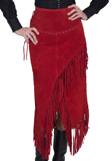 Womens Native Long Suede Red Fringe Wrap Around Skirt