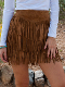 Womens Brown Suede Full Fringe Short Western Skirt