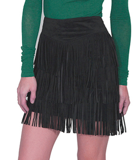 Womens Black Suede Full Fringe Short Western Skirt