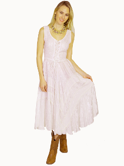 Scully Womens Full Length White Western Flowing Dress, Scully Womens western Dress , womens western dress, full length western dress