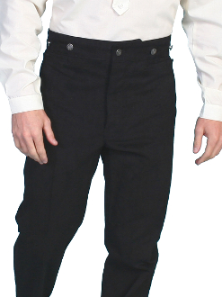 These Mens Scully 1800's Black Classic Town Pants USA made are perfect for your special occasion. Very soft and a lighter weight then our other authentic pants. The more you wash them the softer they get. Comfortable to wear in the summer.