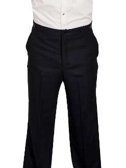 This Mens Scully 1800's Black Gentlemen Pants are made in the USA. These are the pants you'll want for those special occasions. They feature a button fly, two side entry pockets and suspender buttons.