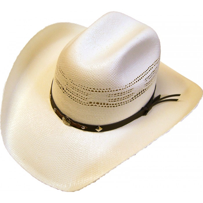 "The ""Silverton"" Adult cowboy hat is a 50X Bangora Natural Straw Cowboy Hat with a Vented crown. This Western hat works great in the summer or winter. Easy clean off and durrable 50X Bangora Straw."